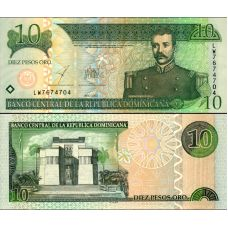 Dominikaaninen tasavalta 2001 10 Pesos Oro P168a UNC
