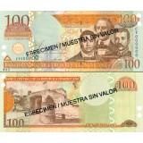 Dominikaaninen tasavalta 2002 100 Pesos Oro P171bS SPECIMEN UNC