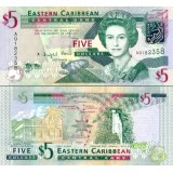 Itä-Karibian valtiot 2008 5 Dollars P47 UNC