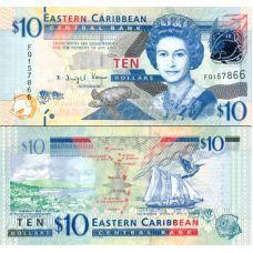 Itä-Karibian valtiot 2012 10 Dollars P52 UNC