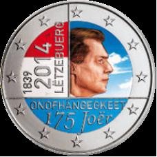 Luxemburg 2014 2 € Itsenäisyys 175 vuotta VÄRITETTY