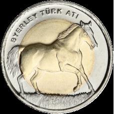 Turkki 2014 1 Lira Byerley Turk hevonen UNC