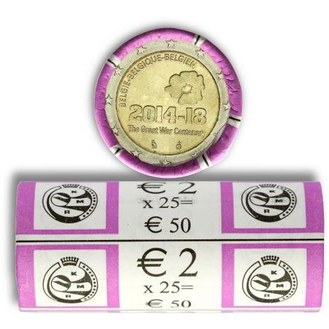 Belgia 2014 2 € Ensimmäinen maailmansota 100 vuotta UNC RULLA