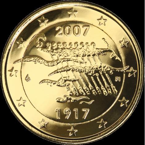Suomi 2007 2 € Itsenäisyys 90 vuotta KULLATTU