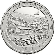 """USA 2014 $0,25 Tennessee Great Smoky Mountains National Park """"D"""" UNC"""