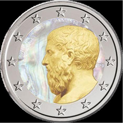 Kreikka 2013 2 € Platonin Akatemia Hologrammi VÄRITETTY