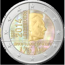 Luxemburg 2014 2 € Itsenäisyys 175 vuotta Hologrammi VÄRITETTY