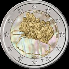 Malta 2013 2 € Itsehallinto 1921 Hologrammi VÄRITETTY