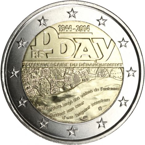Ranska 2014 2 € Normandian maihinnousu 70 vuotta UNC