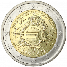 Saksa 2012 2 € Euro 10 vuotta A UNC