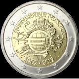 Saksa 2012 2 € Euro 10 vuotta F UNC