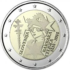 Slovenia 2014 2 € Barbara Celjska 600v UNC