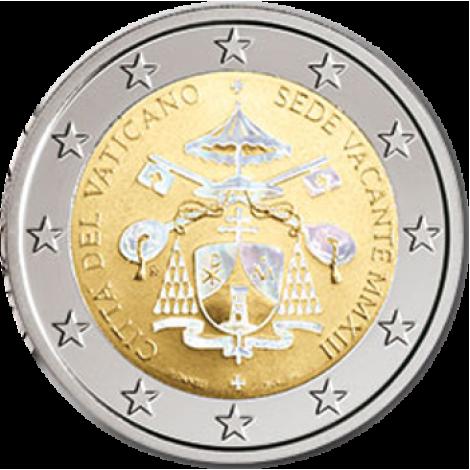 Vatikaani 2013 2 € Sede Vacante MMXIII Hologrammi VÄRITETTY