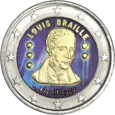 Belgia 2009 2 € Louis Braille VÄRITETTY