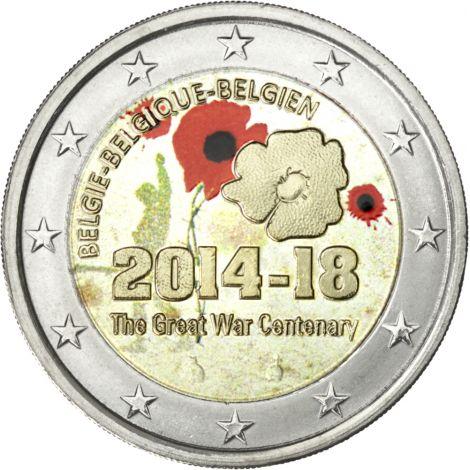 Belgia 2014 2 € Ensimmäinen maailmansota 100 vuotta VÄRITETTY