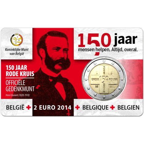 Belgia 2014 2 € Punainen Risti 150v - hollanti COINCARD