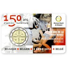 Belgia 2014 2 € Punainen Risti 150v - ranska COINCARD