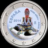 Espanja 2014 2 € Antonio Gaudi VÄRITETTY