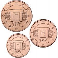 Malta 2013 1 c, 2 c, 5 c Irtokolikot UNC