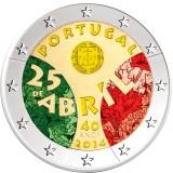Portugali 2014 2 € Neilikkavallankumous VÄRITETTY