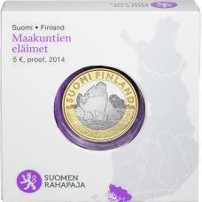 Suomi 2014 5 € Maakuntien eläimet Varsinais-Suomi PROOF