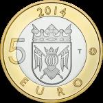 Suomi 2014 5 € Maakuntien eläimet Varsinais-Suomi UNC