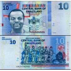 Swazimaa 2010 10 Lilangeni P36a UNC