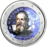 Italia 2014 2 € Galileo Galilei 450v VÄRITETTY