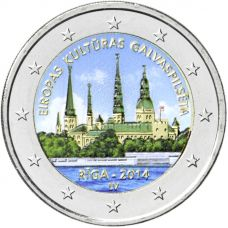 Latvia 2014 2 € Riika - Euroopan kulttuuripääkaupunki VÄRITETTY