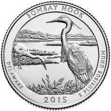 """USA 2015 $0,25 Delaware Bombay Hook National Wildlife Refuge """"D"""" UNC"""