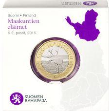 Suomi 2015 5 € Maakuntien eläimet Lappi PROOF