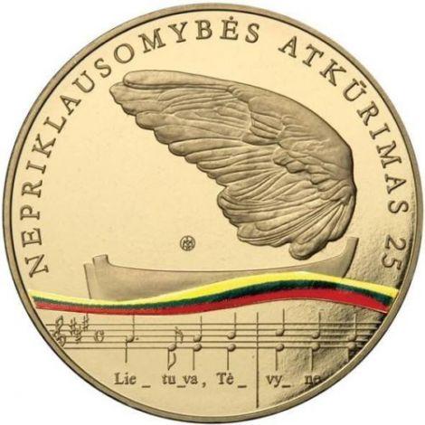 Liettua 2015 5 € Itsenäisyyden palauttamisesta 25 vuotta BU