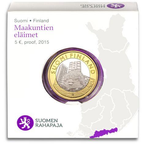 Suomi 2015 5 € Maakuntien eläimet Uusimaa PROOF