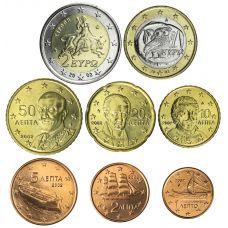 Kreikka 2002 1 c – 2 € Irtokolikot UNC