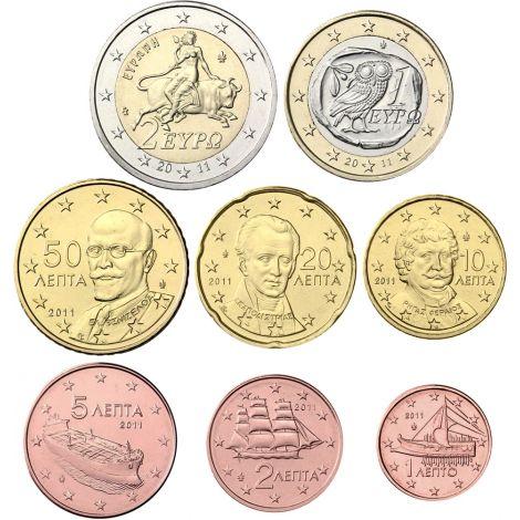 Kreikka 2011 1 c - 2 € Irtokolikot UNC