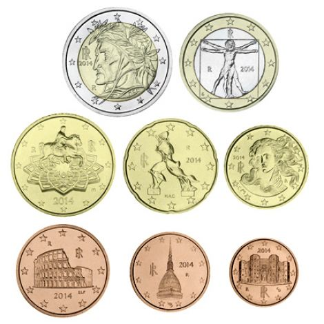 Italia 2018 1 c - 2 € Irtokolikot UNC