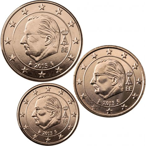 Belgia 2013 1 c, 2 c, 5 c Irtokolikot UNC