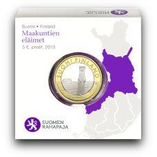 Suomi 2015 5 € Maakuntien eläimet Pohjanmaa PROOF