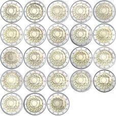 Euroopan Unioni 2015 2 € EU:n lippu 30v, kaikki maat 23 kpl UNC