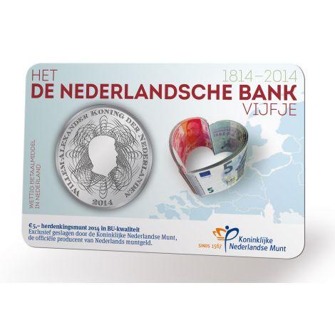 Alankomaat 2014 5 € Pankki 200v COINCARD BU