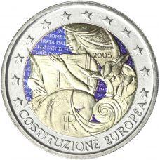 Italia 2005 2 € Euroopan perustuslakisopimuksen 1. vuosipäivä VÄRITETTY