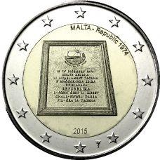 """Malta 2015 2 € Tasavalta 1974 """"Y"""" BU"""