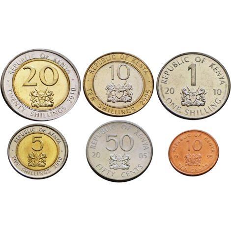 Kenia 10 senttiä - 20 shillinkiä UNC
