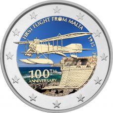 Malta 2015 2 € Ensimmäinen lento 100v VÄRITETTY
