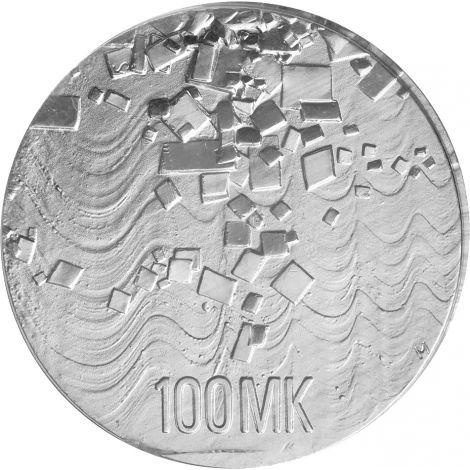 Suomi 1992 100 Markkaa Itsenäisyys 75v HOPEA UNC