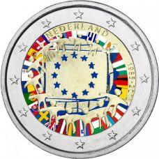 Alankomaat 2015 2 € EU:n lippu 30v #2 VÄRITETTY