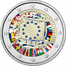 Kreikka 2015 2 € EU:n lippu 30v VÄRITETTY