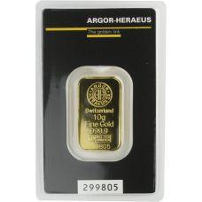 Kultalaatta 10 grammaa Argor-Heraus 9999 KULTA
