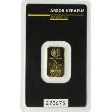 Kultalaatta 5 grammaa Argor-Heraus 9999 KULTA