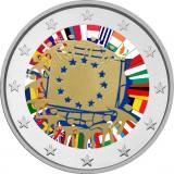 Espanja 2015 2 € EU:n lippu 30v VÄRITETTY